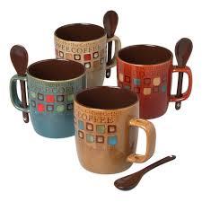 amazon com mr coffee 8 piece cafe americano mug set with spoons