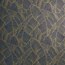 Papier Peint Art Nouveau Palm Navy And Gold Self Adhesive Wallpaper Cb2 Texture