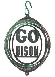 ndsu go bison metal swirly wind spinner one herd ndsu bison gear