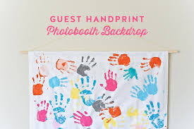 Photo Booth Backdrop Diy Project Guest Handprint Photobooth Backdrop The Little Umbrella
