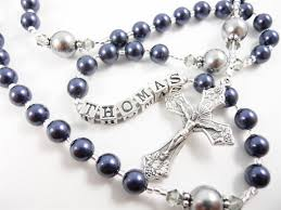 personalized rosary personalized rosary in navy blue and medium by rosarygardencathy