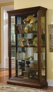 furniture antique curio cabinets with glass door and shelves for