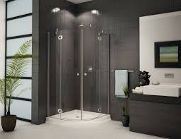 glass shower enclosure and dark tile design ideas www bathroom