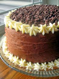 chocolate layer cake with cream cheese filling and chocolate
