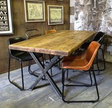 x frame vintage industrial rustic reclaimed plank top dining table