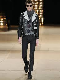 leather biker jackets for sale saint laurent bi colour leather biker jacket in black for men lyst