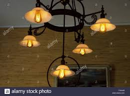 Vintage Wrought Iron Chandeliers Early Incandescent Electric Light Bulbs Invented By A