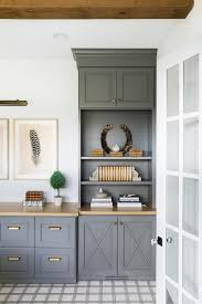 light grey kitchen cabinets with wood countertops charcoal gray work space cabinets with wood countertop