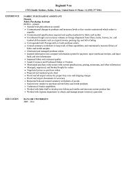 Resume For Purchase Assistant Fabric Assistant Resume Sample Velvet Jobs