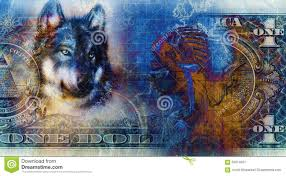 one dollar collage with indian warrior and wolf ornament