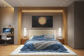 Blue Upholstered Headboard Bedroom Subtle Indirect Bedroom Lighting Features Modern Bed With