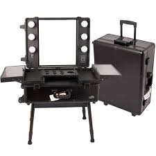 professional makeup case lighted mirror large rolling studio