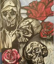 skulls and roses banderas paintings