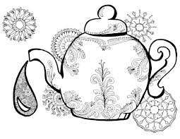 tea coloring pages adults 5 hand drawn pages