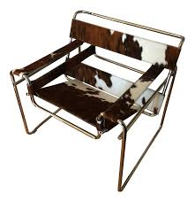 steel line italian cowhide wassily style chair chairish