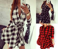 new 2016 scottish style women winter dress casual long sleeve