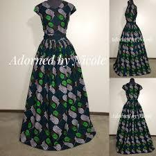 african print maxi dress emerald green black white long dress
