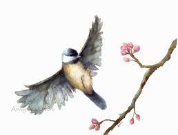 watercolor tutorial chickadee bird watercolor print flying chickadee watercolor print 8x10 fine