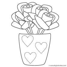hearts coloring sheets roses in vase with hearts coloring page