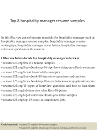 Hospitality Resume Examples by Top 8 Hospitality Manager Resume Samples 1 638 Jpg Cb U003d1428676124
