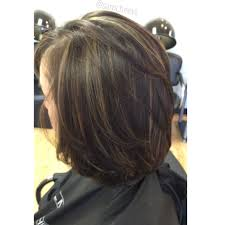 partial red highlights on dark brown hair highlights for short hair bob haircut with dark brown and partial