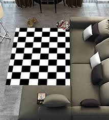 Black And White Modern Rug Custom Checkered Area Rugs Carpet Black White