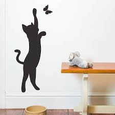 cat and butterfly wall sticker by nutmeg notonthehighstreet com cat and butterfly wall sticker