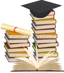 graduation books stack of colorful books and graduation cap vector illustration