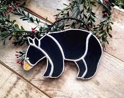 Black Bear Christmas Tree Ornaments by Rustic Decorations Black Bear Wildlife Decor Black Gift