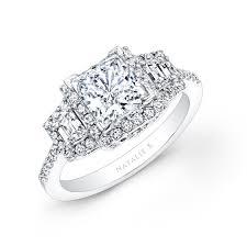 Princess Cut Diamond Wedding Rings by White Gold Princess Cut Diamond Engagement Ring With Trapezoid