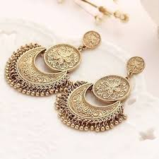 metal earings oxidized bohemia gold vintage black metal ethnic drop new women