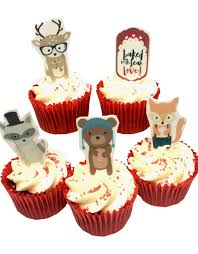 woodland cake toppers woodsters woodland cupcake stand up decorations top my bake