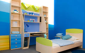 wood ladder loft attic teenage bedroom design with blue interior