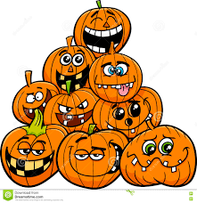 cartoon halloween picture cartoon halloween pumpkins group stock vector image 77251334