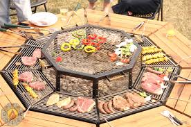 cuisine outdoor barbecue picnic table lets everyone cook their own meal