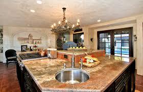 Kitchen Sink Spanish - large island with round prep sink mediterranean kitchen san