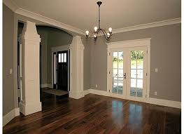 the white trim gray walls and dark wood floors love the dark door