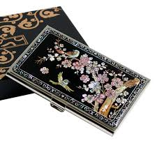 Bling Business Card Holder Engraved Business Card Holder With Mother Of Pearl Korean Plum