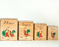 rooster kitchen canisters chicken canister etsy