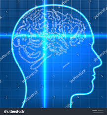 digital artificial intelligence brain on scan stock vector