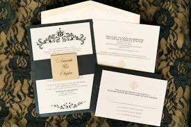 gold u0026 black elegant damask wedding invitation with envelope liner