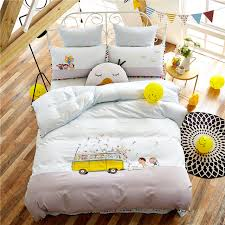 Embroidered Bedding Sets 4pcs Luxury Egypt Cotton Cartoon Embroidered Bedding Set Childhood