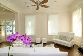beautiful modern livingroom with white furniture and orchid stock