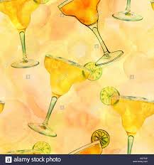 margarita illustration a seamless pattern with watercolour drawings of a margarita