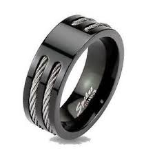 titanium mens wedding band black ip titanium mens rope cable inlay wedding band ring ebay