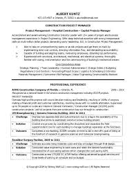 sample resume construction project manager project manager cv