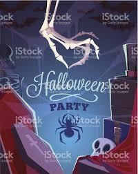 skeleton hand halloween creepy skeleton hand halloween cardposter vector illustration