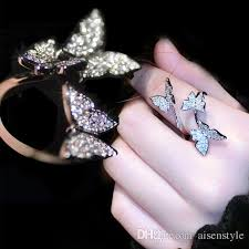 butterfly rings diamond images Luxury crystal butterfly rings for women jewelry fashion open jpg