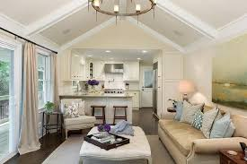 Cathedral Ceilings In Living Room Living Room Cathedral Ceiling With White Wood Beams Transitional
