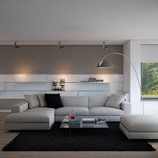 contemporary living room furniture with black carpet and white
